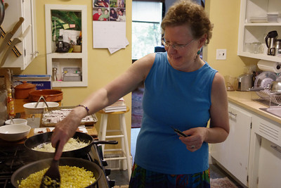Rita in her kitchen cooking liver and onions for Lela, George, Norma, and Gary.  June 2, 2011.