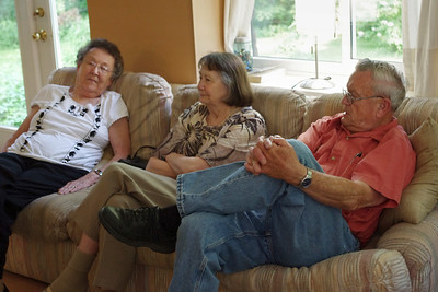 Lela, Norma, and George waiting for Rita to cook supper. June 2, 2011.