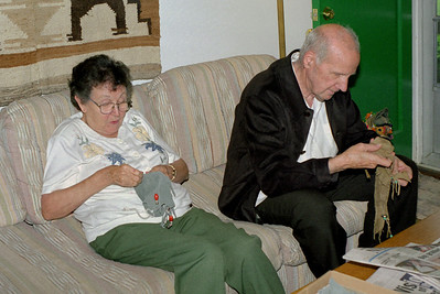 Floyd and Lela work Norma's puzzel bags at Rita's on Mount Vernon. April, 2000.