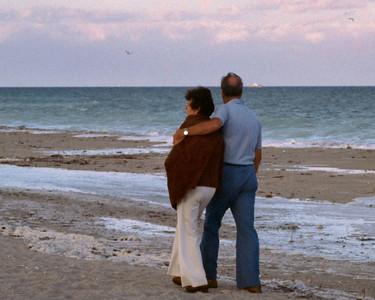 Lela and Floyd on a Florida beach, 1980.
