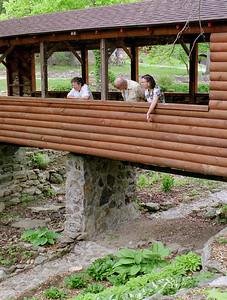 Lela, Floyd and Rita at the hasta gardens, Honey Branch Cave, Missouri. June, 2000.