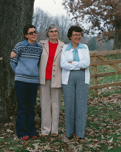 Rita Wright, Veda Cantrel, and Lela Mayberry, Mountain View Missouri, November or December, 1977.