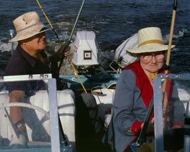 Noval and Veda fishing in their power boat on Lake Okeechobee, Florida. About 1980?