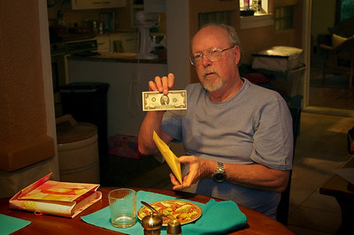 Steve with some funny money. Rita's table, Sept. 13, 2013.