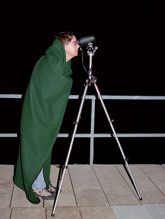 Rita looking at the full moon with binoculars, Lake of the Ozarks, October, 2000.