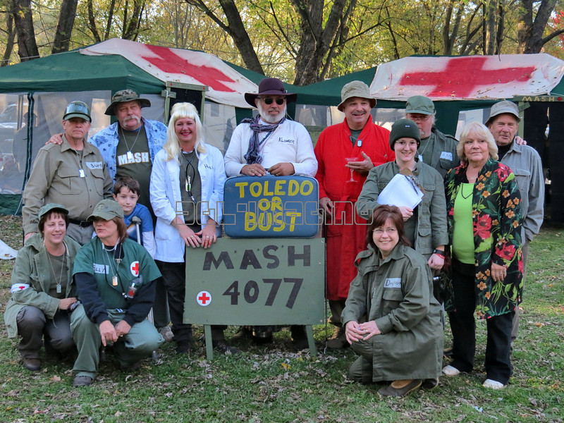 Every October my brother and his family, together with a group of friends, go to a campground near Gettysburg, Pa. and participate in a Holloween dress-up and decoration competition. This year they chose the TV show MASH as their theme.