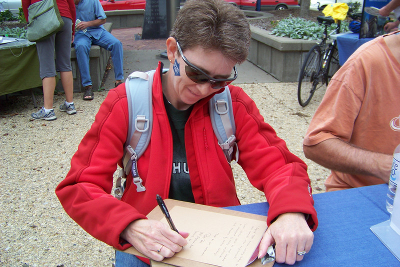 We write letters to the mayor about the need for alternative transportation -- more bike routes and lanes, more enforcement of traffic laws to make the streets safer for cyclists, and better public transportation.  September 2011