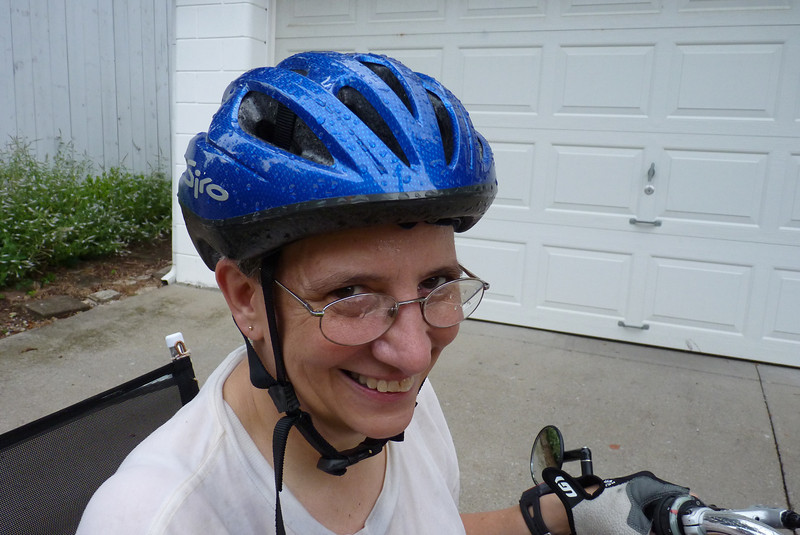 Jeane took the new bike for a spin and we got caught in a terrible downpour.  Luckily it's July so we're not freezing to death.   July, 2011