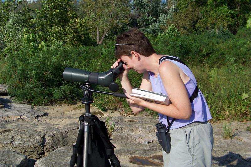 Patti's frustrated at those gosh darn shorebirds at the Falls of the Ohio.  8/29/2009