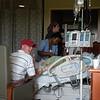 Jason gives a thumbs-up for the nursing staff at Sinai Hospital