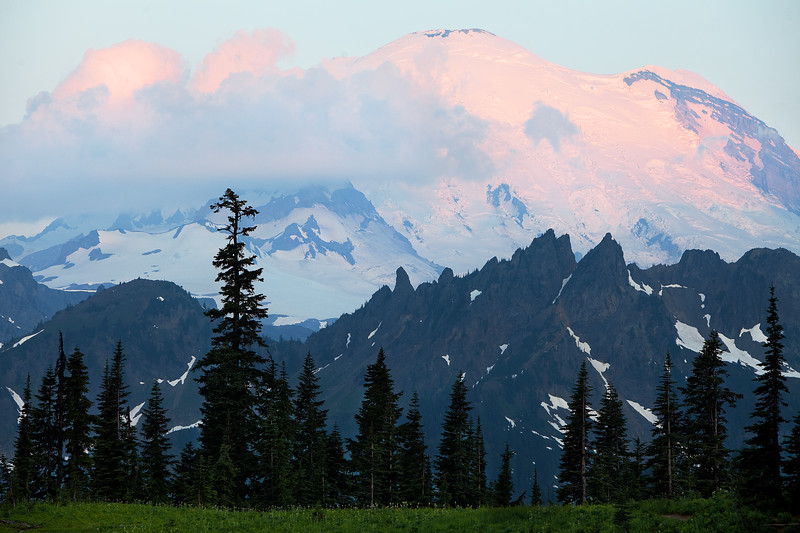 Sunrise on Mt Rainier from upper Tipsoo Lake.