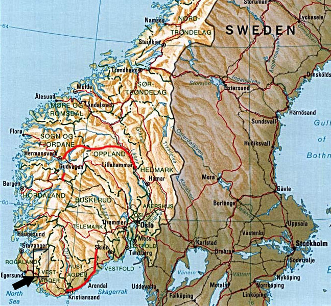 Location of the ancestral farms in Norway.