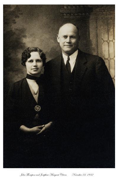 John and Margaret Thompson wedding portrait<br /> November 22, 1932