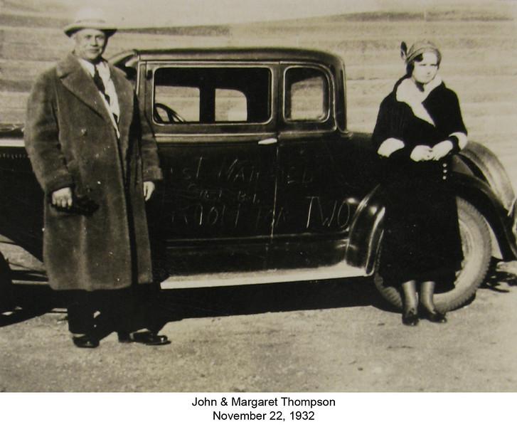 John and Margaret in North Dakota on their wedding day November 22, 1932.