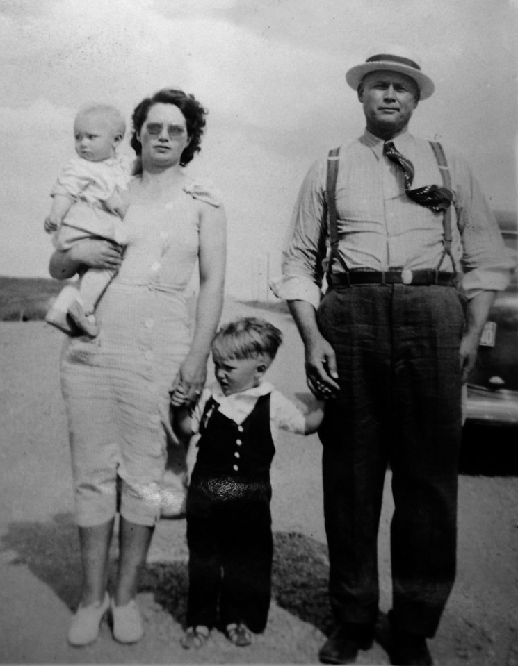 David and Darrell with Mom and Dad<br /> 1936