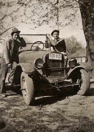 """Back of photo says: """"Reggie Essary & Roscoe Davenport. Date on Missouri license plate may be 1935 - last digit is not quite legible."""