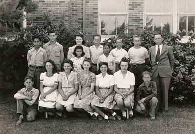 Grimes, California, Middle School (grades 6, 7, 8), class of 1943-44. George Junior Wright is in the back row, 3rd from right.