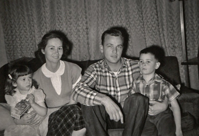 Cara, Norma, George and Gary. B&W photo is marked Jan 1957.