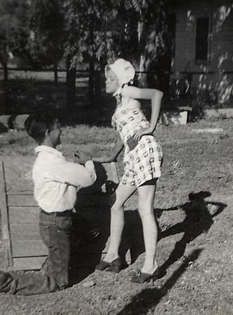 George Junior Wright in a dress and his friend Armando. Freshman hazing(?)