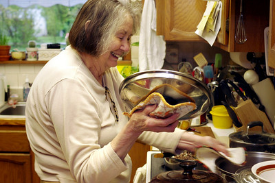 Norma in her kitchen. April party, 2011.