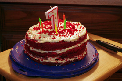 Red velvet birthday cake, Norma's April party, 2011.