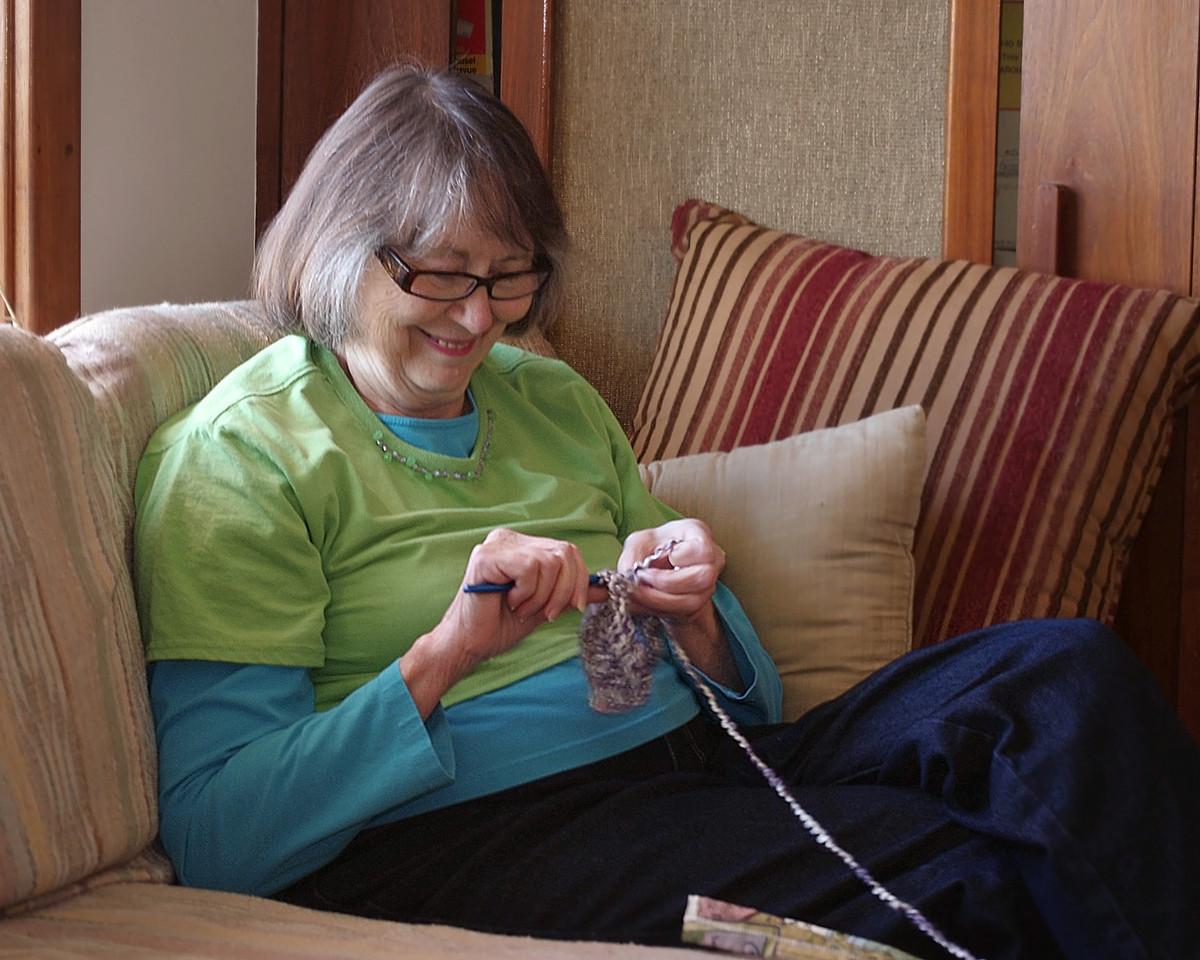 Norma, crochetting(?). Thanksgiving at Ritas. 2011