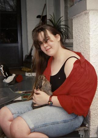 Olivia (Niki) Morris holding a bunny.
