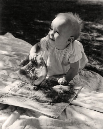 Baby Lisa with watermelon at a picnic. 1959 Scan is from a Polaroid print made by George Wright.