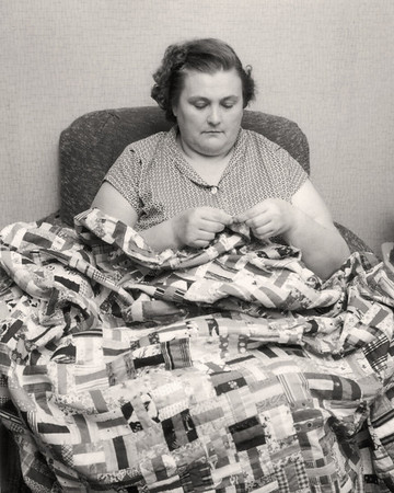 Gladys Wright, quilting. 1959 Scan is from a Polaroid print made by George Wright.