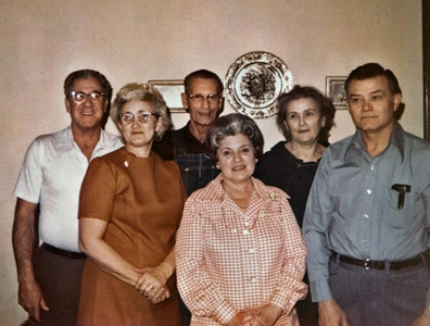 From left, Kenneth and Cloe Mae Cunningham, George William Wright, Ruth Lemons, Gladys Wright, and Clyde Lemons. Feb. 10, 1973.