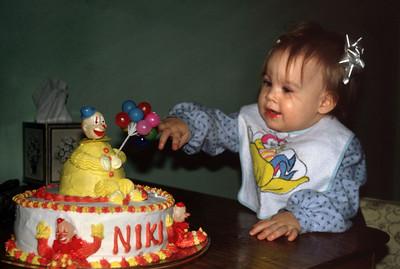 Olivia Nicole Morris - aka Niki - and her birthday cake, 1979.