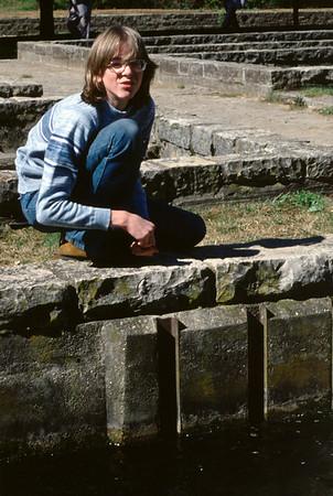 David Wright at Roaring River Trout Hatchery near Cassville, Missouri. 1977.