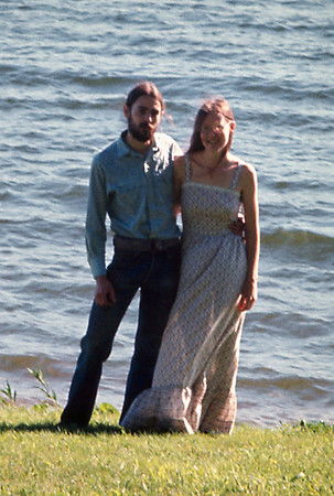Gary and Rita Wright on their wedding day at Fellows Lake, June 16, 1974.