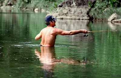 George Wright, casting a lure on the river. Summer, 1974.