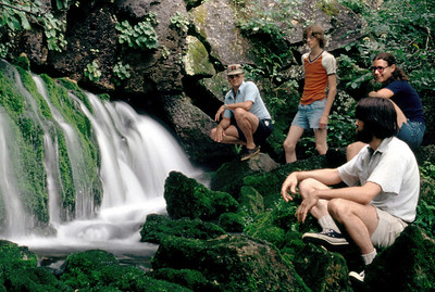 George, David, Gary, and Rita at a spring on the Eleven Point River. 1979.