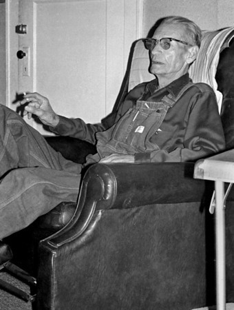 George Wright Sr in his house on North National Ave. Mid 1970s.