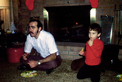 Bill and Shannon Shank; Christmas 1979 at the Andersons(?)