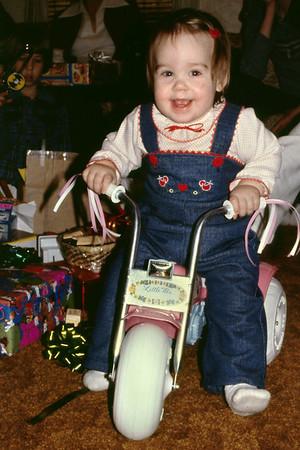Olivia on her Christmas bike. Norma's, 1979.
