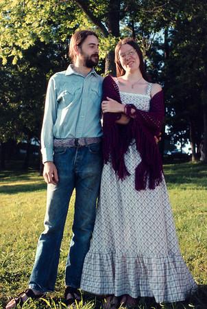 Gary and Rita Wright in their wedding finery. Fellows Lake, Springfield, Missouri, June 16, 1974.