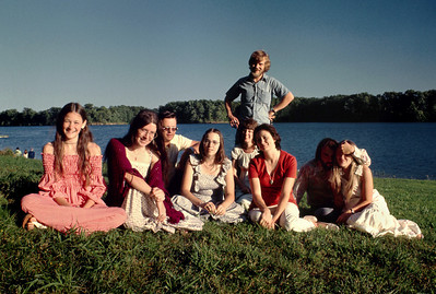Dana Wright, Rita Wright, George Wright, Lisa Wright, Ann Fransisco, Mitch Fransisco, Norma Wright, can't recall the names of the couple on the right, but presumably the preacher, Lawrence Smith, and ?. Fellows Lake, Springfield, Missouri. June 16, 1974.
