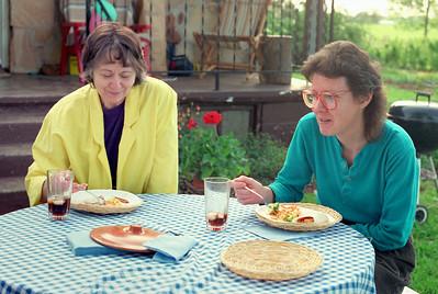 Norma and Rita. Garden party at Ritas, Brookline, MO. About 1993?