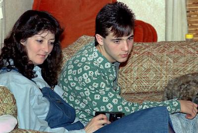 Cara and Sean. Christmas at Norma's, 1990.