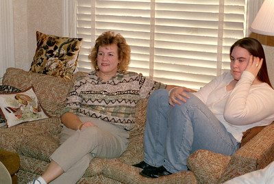 Marcia Wright and Olivia Morris on the sofa. Norma's, 1998. Thanksgiving or Christmas?