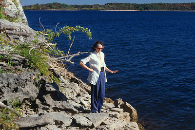 Norma Wright on the shore of Stockton Lake; early 1990s.
