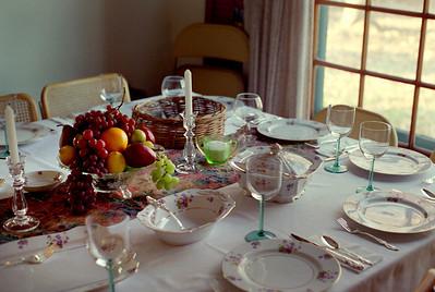 Rita's Thanksgiving table, Brookline, Mo, 1995.