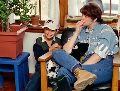 Jared and Dana, Thanksgiving at Rita's, Brookline, Mo, 1995.