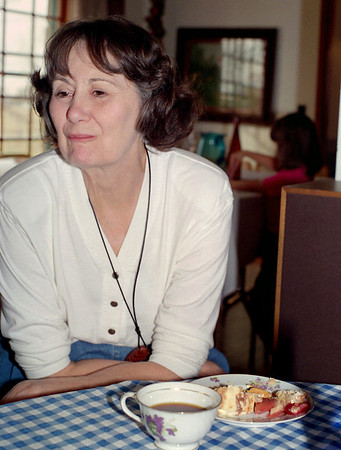 Norma, coffee and dessert after Thanksgiving, Brookline, Mo, 1995.