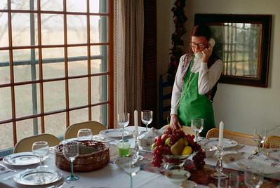Rita at Thanksgiving table, Brookline, Mo, 1995.