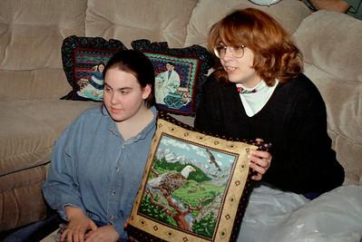 Olivia and Lisa with pillow. Christmas at Cara's, 1997.