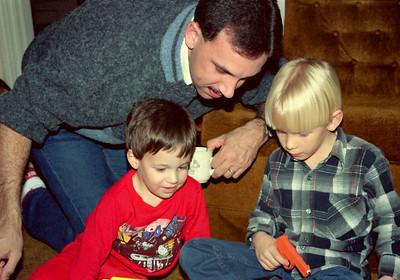 Jared, Kevin, Brandon. Christmas at Norma's, 1990